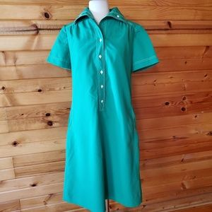 1970s Leslie Fay Green Poly/Cotton Dress